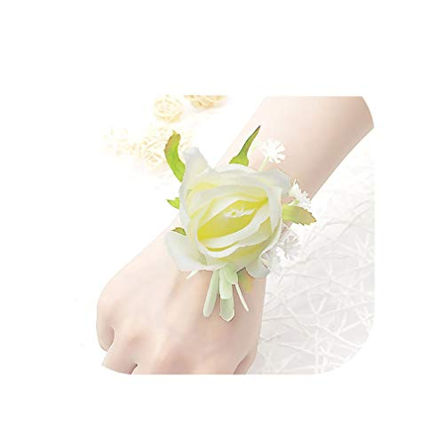 Wedding Wrist Corsage Bracelet Georgette Bridesmaid Wrist Flower Wedding Bracelets for Women Groom Boutonniere,White Bracelet