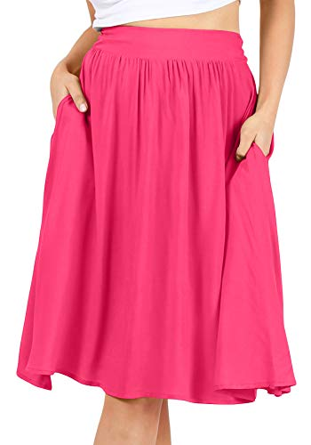 Womens Solid and Printed Reg and Plus Size Lightweight Flowy A-Line Skirt with Side Pockets - Made in USA (Size Medium US 6-8, Fuchsia)