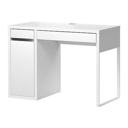 Ikea Micke Bureau Avec Rangement Blanc 120 X 50 Cm Amazon