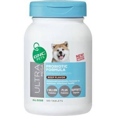 (GNC Pets Ultra Mega Probiotic Formula Chewable Tablet Beef Flavor 180 Tablets)