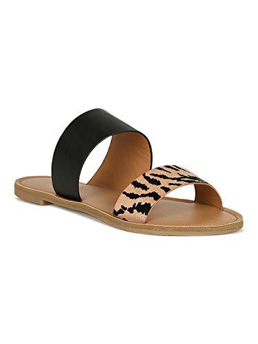 Alrisco Women Asymmetric Double Band Slide Flat Sandal RJ26 - Tan/Black Tiger Mix Media (Size: 9.0) (Qupid Print Animal)