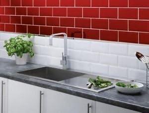 Carrelage Metro Rouge 200 X 100 Mm Lot De 25 Amazon Fr Cuisine Maison