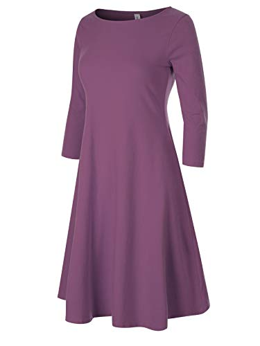 Design by Olivia Women's Classic 3/4 Sleeve Round Hem Swing Flared Tunic Dress with Side Pockets Lilac S ()