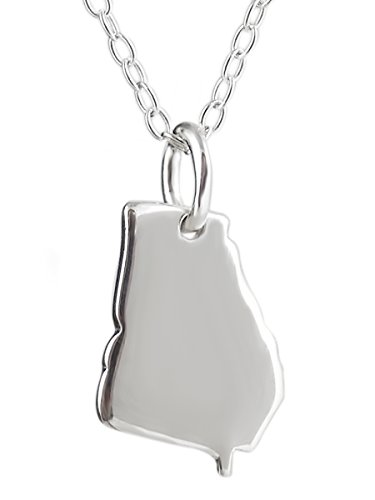 FashionJunkie4Life Sterling Silver US Georgia State Charm Necklace, 18 Inch