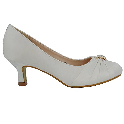 ESSEX GLAM Mujer Nupcial Diamante Satín Tacón Bajo Boda Zapato Marfil Satín