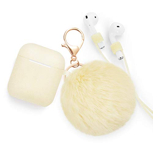 Airpods Case - BlUEWIND Drop Proof Air Pods Protective Pom Pom Keychain Case Cover Silicone Skin for Apple Airpods 2 & 1 Charging Case, Cute Fur Ball Airpods Keychain/Strap (Glittery Gold)