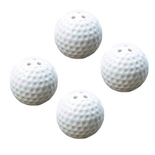 Flameer 4 Pieces Ceramic Golf Ball Shaped Salt and Pepper Shaker, Home Kitchen Spices Container Spice Jars Set with Holes for Wedding Favors ()