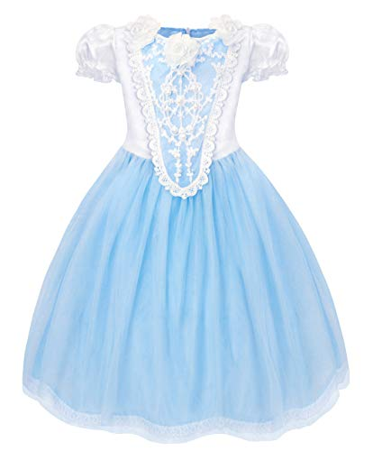 Cotrio Elsa Dress Little Girls Princess Costume Dress Up Halloween Cosplay Party Dresses with Cape (140, 9-10Years)