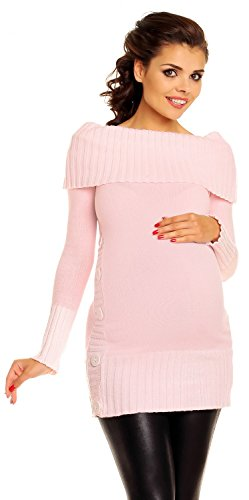 Zeta Ville De Las Mujeres Maternidad off-Shoulder Knit Pullover Jersey Túnica Superior–�?13C Polvo Rosa