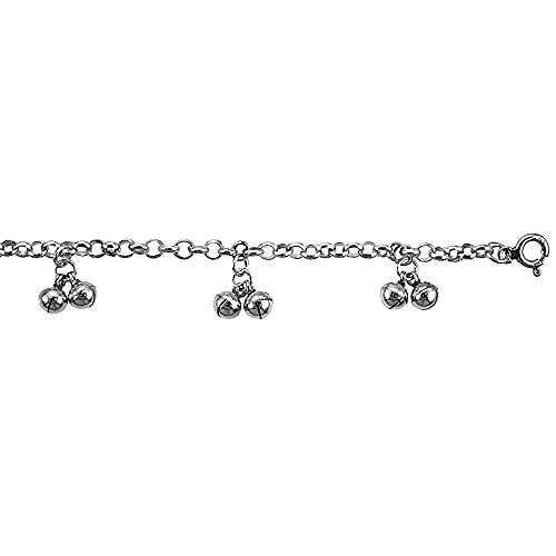 Sterling Silver Anklet Double Bells