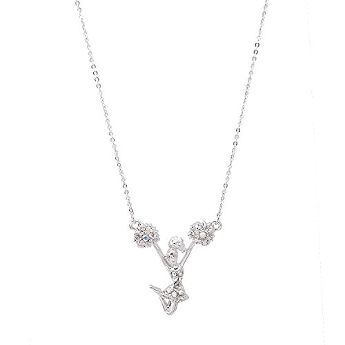 Silver Plated Crystal Cheerleader Necklace