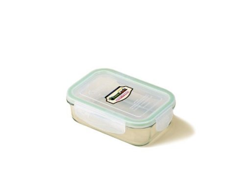 Kinetic Glasslock Series Rectangular Glass Food Storage Container With Locking Lid 01312, 14-Ounce