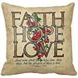 Faith Hope Love Bible Quote Famous Custom Throw Pillow Case Vintage Cushion Cover Pillowcase Anniversary Cushion Covers Twin Sides