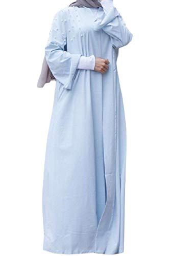 Frontale Abito Con Starsace Per Blue Arabo Donna Apertura Musulmano Light BXxdHqw