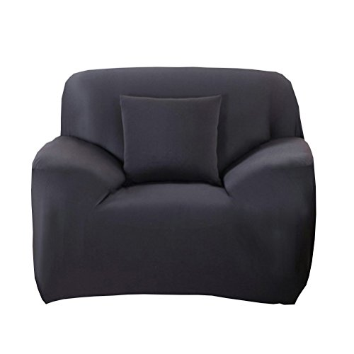 WINOMO Armchair Slipcover Polyester t-cushion Chair Slipcover One-seat sofa cover (Black) by WINOMO (Image #6)