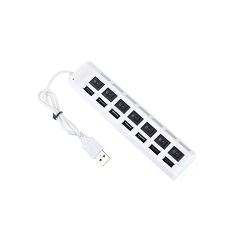 (USB Socket, Multi-Function Sockets 7 Ports LED USB 2.0 Adapter Hub Power on/Off Switch for PC Laptop Phone BK (White))