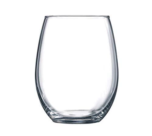 Winco 12-Piece Gem Stem Less Wine Glasses Set, 15-Ounce