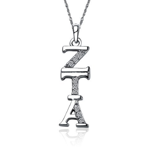 Zeta Tau Alpha Vertical Silver Necklace with a 18 Silver Chain (ZTA-P001) by Greek Star