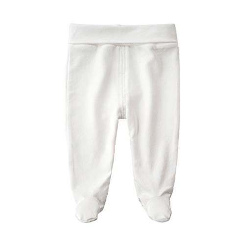 - SYCLZ Baby Cotton High Waist Footed Pants Casual Leggings 0-12M (3-6M, White)