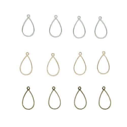 30 Pcs Teardrop Open Back Bezel Pendant Blanks Oval Open Bezels Charm for Resin Crafts Jewelry Making (Silver,Gold,Bronze) - Teardrop Frame