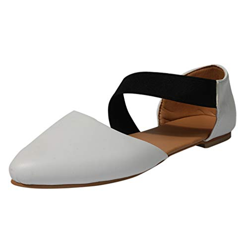 Aniywn Comfortable Pointed Toe Flats Women's Shoes Black Walking Ballet Elastic Crossing Straps -
