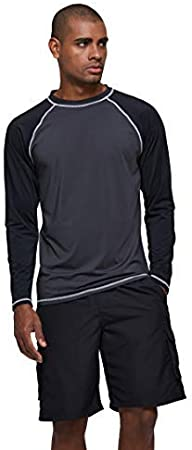 QRANSS Mens Long Sleeves Rash Guards Quick Dry Swimming Rash Top Prevents Chafing Diving Shirts Sun Protection Surfing Wetsuits