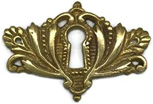 K11-C756B Brass Keyhole Cover Escutcheon Plate for Cabinet Doors Dresser Drawers Desk Antique Furniture Hardware