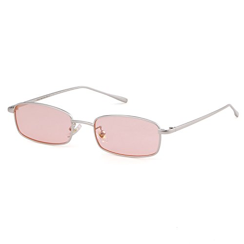 Sunglasses for Women Men Small Metal Frame Square Clear Candy Color Lens Glasses (Pink Lens/Silver Frame, 51)