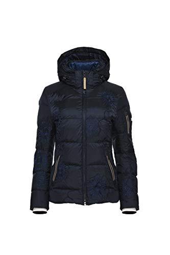 Bogner Sport Women's Ganya Down Ski Jacket with Dyed Black Nurea Finnraccoon Hood Trim