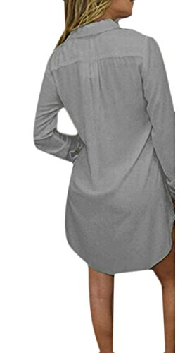 Las Pura Gris Jaycargogo Gasa V Sexy De Las Larga En Vestir Color Mujeres De De Cuello Camisas De Manga IUpEqw