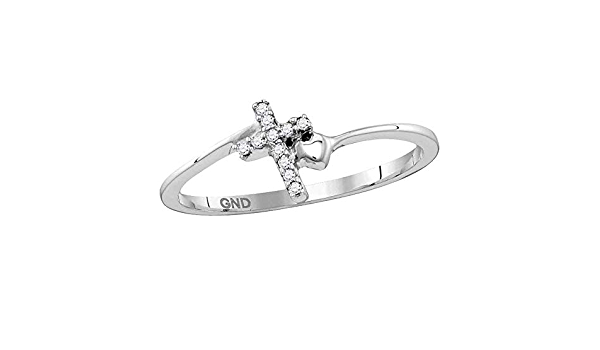 Solid 925 Sterling Silver Round Black Diamond Cross Band Engagement Wedding Anniversary Ring 1//20 Ct.