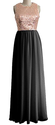 macloth mujeres o cuello lentejuelas gasa largo vestido Formal vestido de noche de dama dorado Rose Gold-Black 34