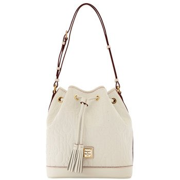 Dooney and Bourke DB Retro Embossed Drawstring, White, Bags Central