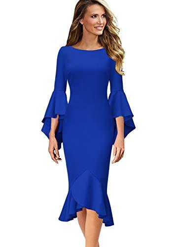 (VFSHOW Womens Ruffle Bell Sleeve Cocktail Party Mermaid Midi Mid-Calf Dress 1693 BLU L)