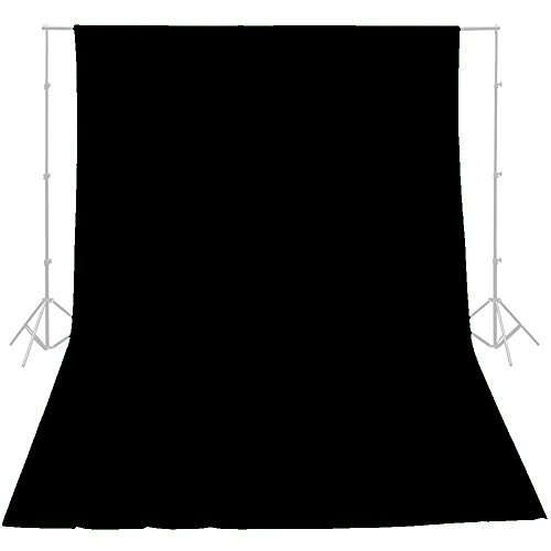 - ePhotoInc 10 x 16 ft Black Photography Video Muslin Backdrop 100% Cotton Photography Photo Studio Portrait Background 1016B