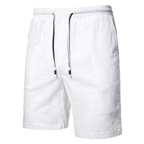 khdug Men's Summer New Large-Size Casual Five-Point Pants Cotton Hemp Pure Color Short White