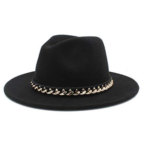 (DOSOMI Women Men Wool Fedora Hat for Winter Autumn Wide Brim Jazz Sombrero Caps Size 56-58CM,Black)