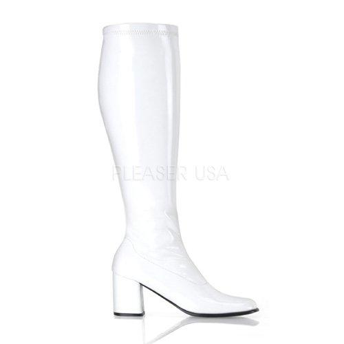 White Halloween Costume Boots (Funtasma by Pleaser Women's Gogo-300W,White Patent,9 M)