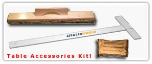 Shuffleboard Table Accessories Kit - Board Wipe T Square & Talc Bag