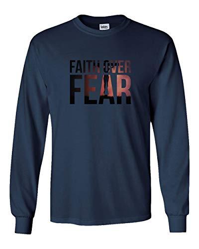 Societee Faith Over Fear Arrow Letter Religious Christian Jesus Christ Men's Long Sleeve T Shirt (Navy,M) ()
