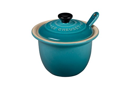 Le Creuset Condiment Spoon - Le Creuset Stoneware Condiment Pot with Spoon, 6 3/4-Ounce, Caribbean