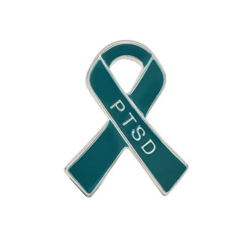 (2 Pack PTSD Awareness Teal Ribbon Pins (2 Pins in a Bag))