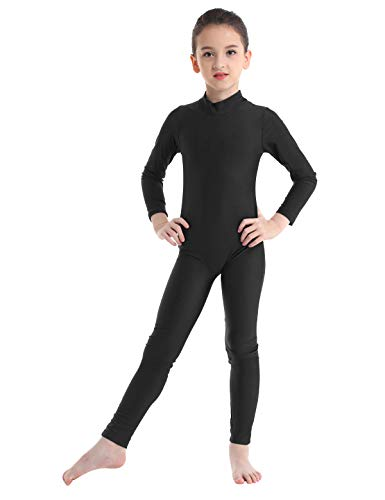 iiniim Kids Boys Girls Long Sleeve Full Body Suit Unitard Jumpsuit Spandex Catsuit Costumes Gymnastics Leotard Black 4-5 -
