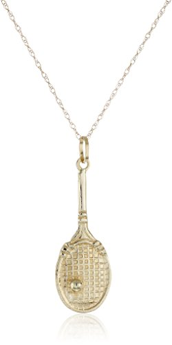 Gold Tennis Racquet - 14k Yellow Gold Tennis Racquet Pendant Necklace, 18