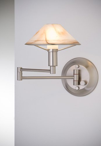 Brass Aging Eye (Holtkoetter 9426 SN ABR Lighting for The Aging Eye Halogen Swing-Arm Wall Sconce, Satin Nickel with Alabaster Brown Glass)