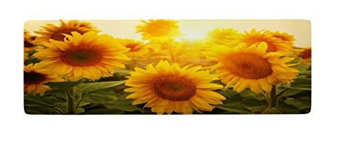 Ihome888 Sunflower Bath Mats, Wild Flore Flower Flannel Non Slip Bath Rug for Bathroom Kitchen Rug Machine Washable Flore Carpet, 48L x 16W Inch, Yellow Green