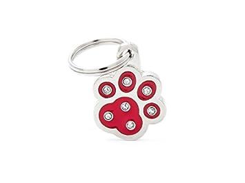 Médaille MyFamily Patte Strass Rouge plaque chien gravure gratuite coutume chat