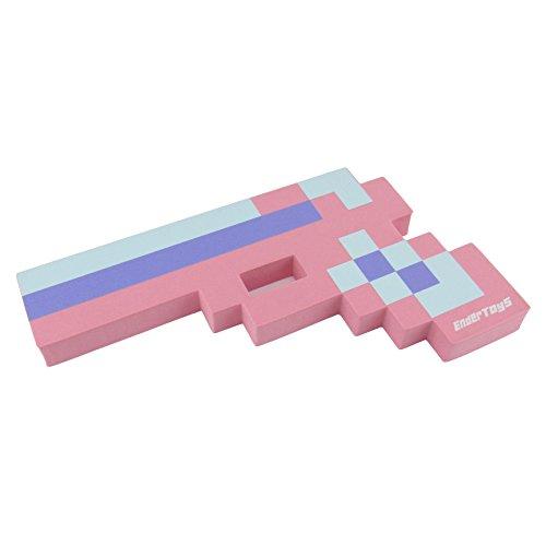 [8 Bit Foam Gun Toy Weapon, Pixelated Princess Pink Pistol, 10 inch, EnderToys] (Dragon Costume Skin Minecraft)