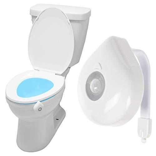 Vive Toilet Bowl Light - Night Motion Sensor Activated Device - Ultra Slim Flexible Nightlight for Bathroom, Kids, Adult, Elderly, Seniors - Waterproof, Adjustable - Battery Power Included (1 Pack)