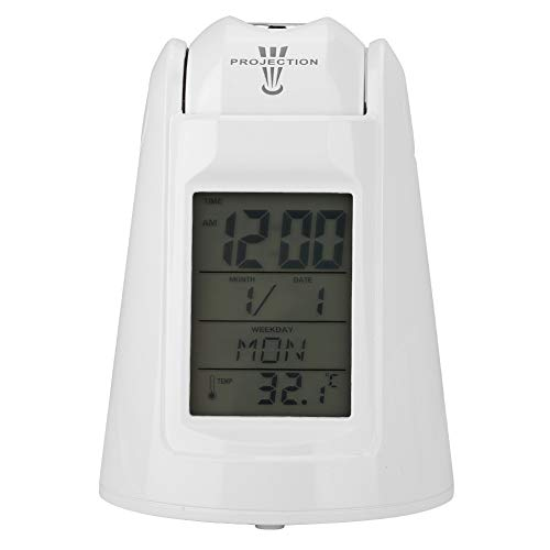 Oumij 809 Voice-Activated Backlight Time Projection Clock Snooze Alarm Table Clock(White) New Digital Backlight LED Display Table Alarm Clock Snooze Thermometer Calendar,Easter Gifts (Best Alarm Clock Radio Consumer Reports)